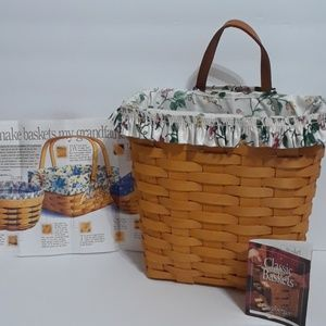 Longaberger Tall Key Basket With White Vine Liner